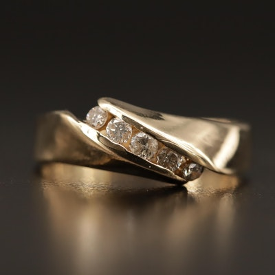 14K Diamond Bypass Band