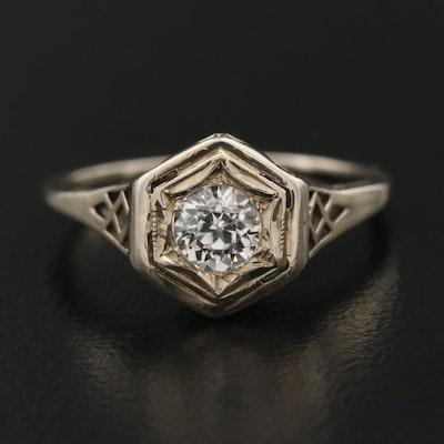 Vintage 14K White Sapphire Ring