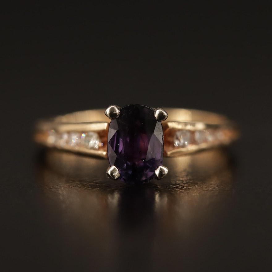 14K Purple Sapphire and Diamond Ring