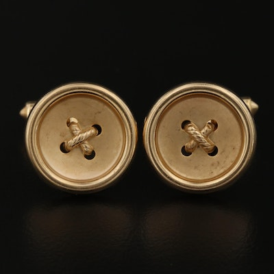 14K Button Motif Cufflinks