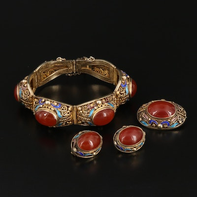 Sterling Agate and Cloisonné Enamel Bracelet, Brooch and Earrings Set