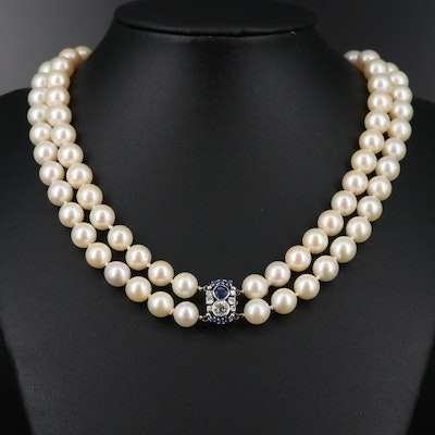 Hand Knotted Pearl Double Strand Necklace with 14K Diamond and Sapphire Clasp