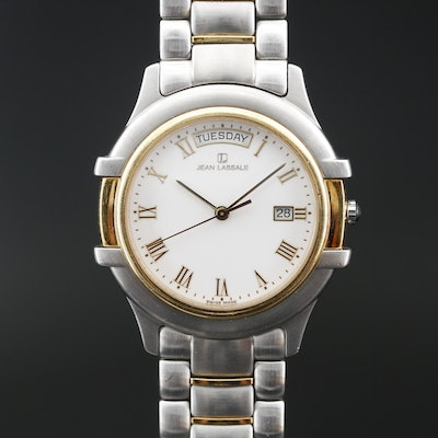 "Vintage Jean Lassale ""Thalassa II"" 18K and Stainless Steel Quartz Wristwatch"