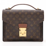 Louis Vuitton Monceau 28 Satchel in Monogram Canvas and Smooth Leather with Box