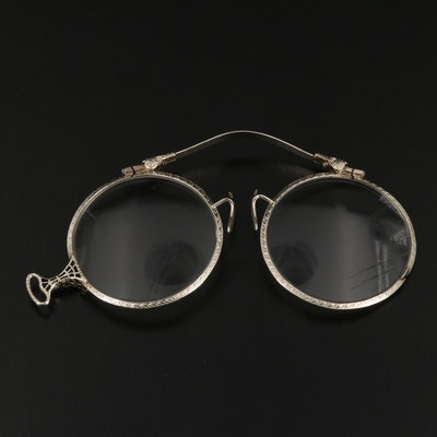 Vintage 14K Glass Lorgnette Glasses