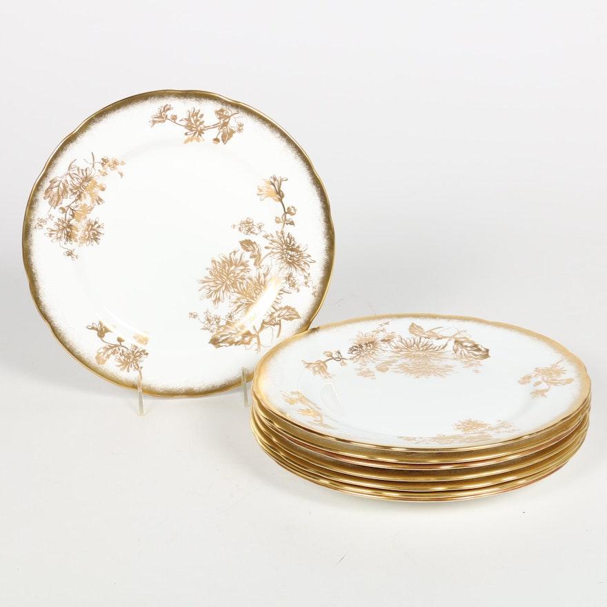 "Hammersley & Co. ""Golden Chrysanthemum"" Bone China Dinner Plates"