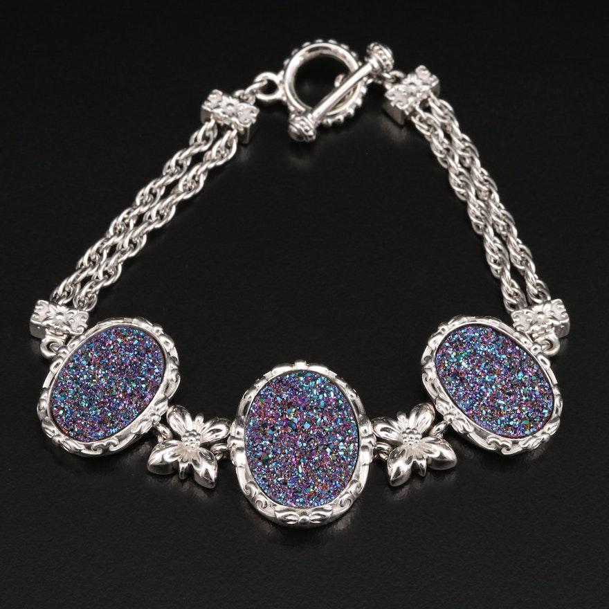 Sterling Silver and Druzy Link Bracelet