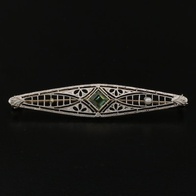 Vintage 14K Tourmaline and Seed Pearl Bar Brooch with Platinum Top