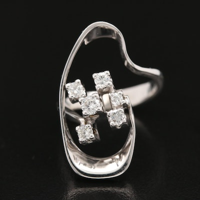 14K Gold Diamond Freeform Ring