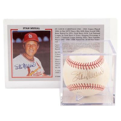 Stan Musial Signed Rawlings National League Baseball and Postcard, JSA COA