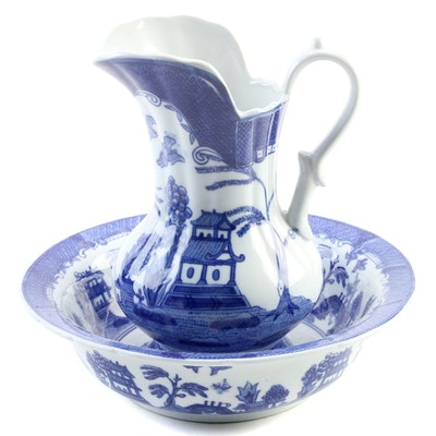 Reproduction Transferware Blue Willow Ewer and Basin
