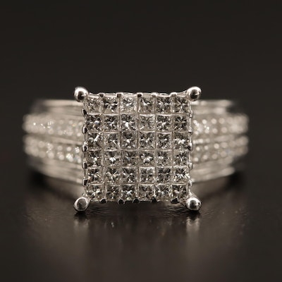 14K 1.30 CTW Diamond Cluster Ring