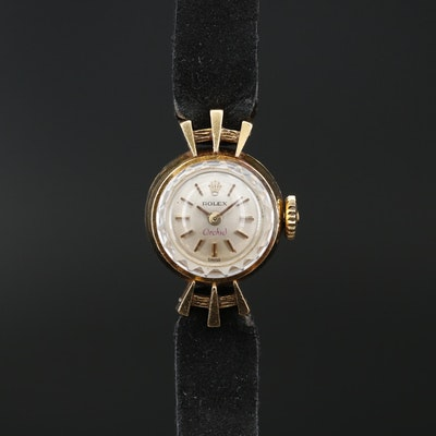 1966 Rolex Orchid 18K Yellow Gold Stem Wind Wristwatch