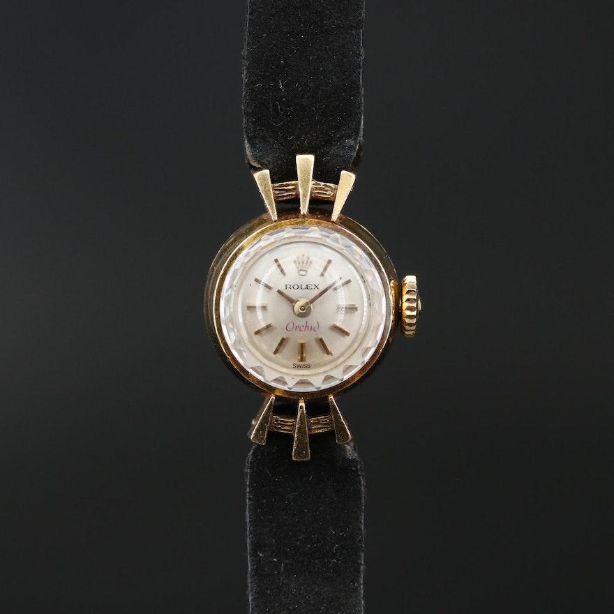 1966 Rolex Orchid 18K Yellow Gold Stem Wind Wristwatch