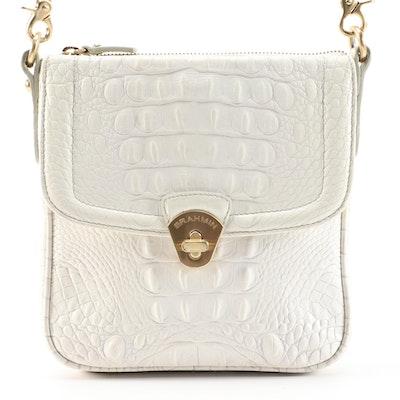 Brahmin White Crocodile Embossed Leather Crossbody Bag