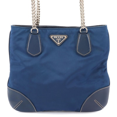Prada Small Chain Tote in Bluette Tessuto Nylon and Vitello Leather