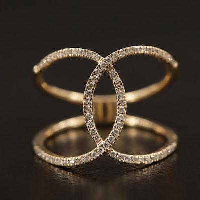 14K Diamond Geometric Motif Ring