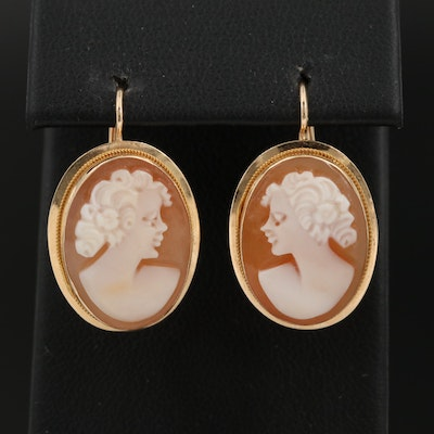 14K Gold Helmet Shell Cameo Earrings