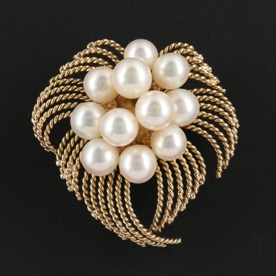 Vintage 14K Gold Cultured Pearl Brooch