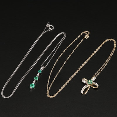 10K Emerald and Diamond Cross and Drop Necklaces