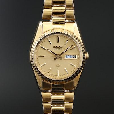 """1989 Seiko """"SQ Day-Date"""" Gold Tone Quartz Wristwatch"""