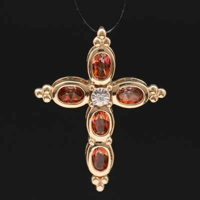 10K Mystic Topaz and Diamond Cross Pendant