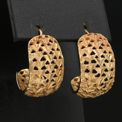 14K Openwork Pattern Half Hoop Earrings