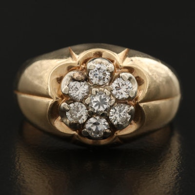 Vintage 14K Diamond Cluster Ring with Belcher Setting