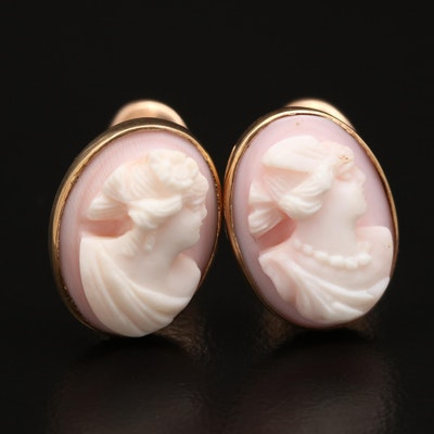 Antique 10K Conch Shell Cameo Cufflinks