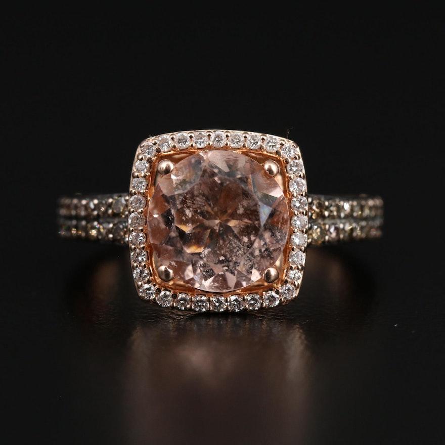 Le Vian 14K Morganite and Diamond Halo Ring