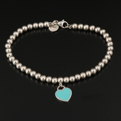 "Tiffany & Co. Sterling ""Return to Tiffany"" Bead Bracelet with Enamel Heart Charm"