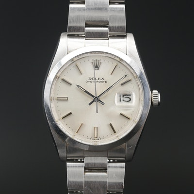 Vintage Rolex Oysterdate Stainless Steel Stem Wind Wristwatch