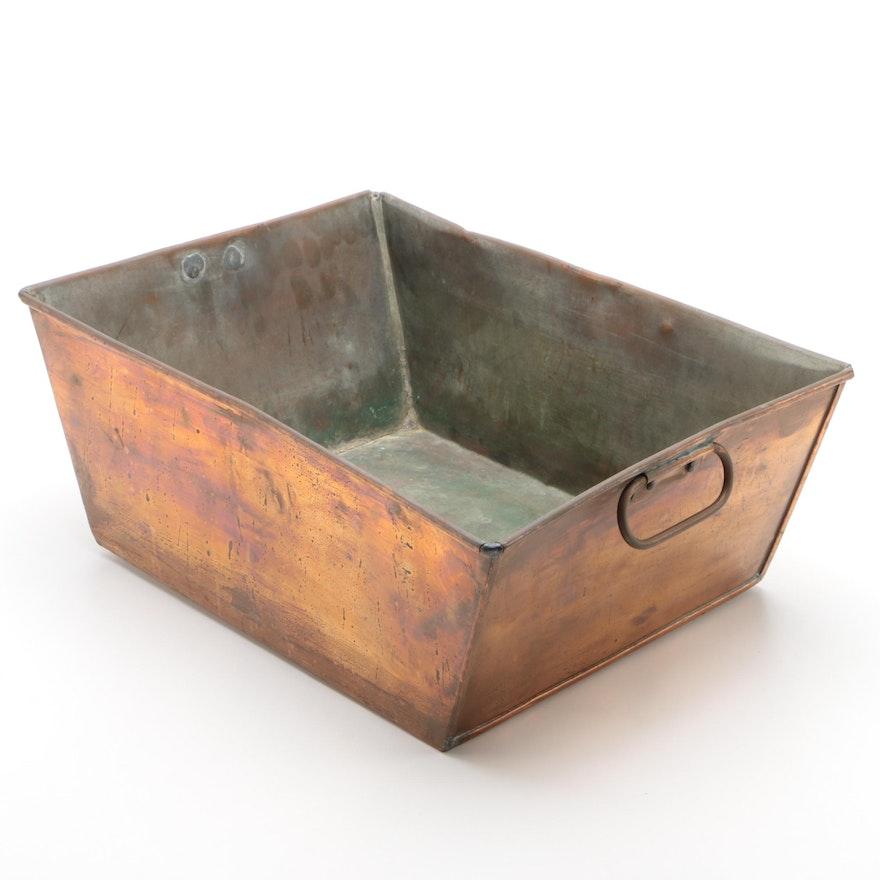 Copper Rectangular Planter with Handles