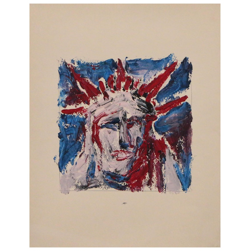 Robert W. Hasselhoff Abstract Acrylic Painting, Late 20th Century