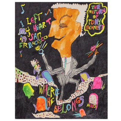 Robert W. Hasselhoff Abstract Mixed Media Painting of Tony Bennett