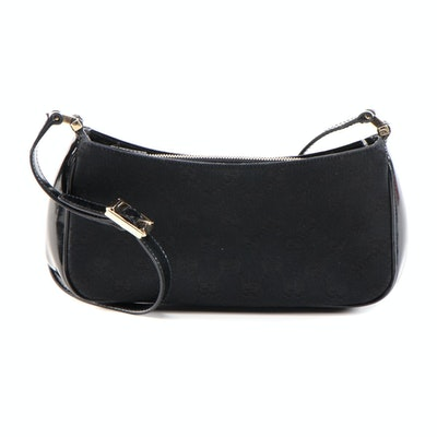Gucci Black GG Canvas and Patent Leather Baguette Shoulder Bag