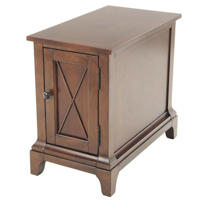 Contemporary Walnut Finish Cabinet Side Table