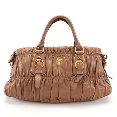 Prada Satchel Bag in Light Brown Napa Gaufre Leather