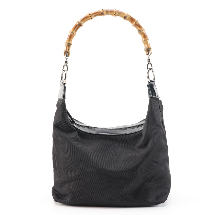 Gucci Bamboo Black Canvas and Glazed Leather Trimmed Shoulder Bag