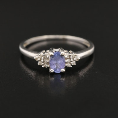 14K Gold Tanzanite and Diamond Ring