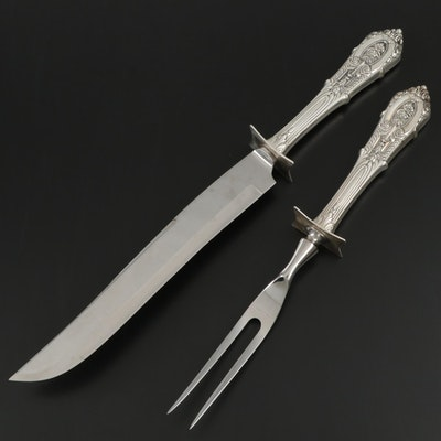 """Wallace """"Rose Point"""" Sterling-Handled Carving Set, Mid to Late 20th Century"""