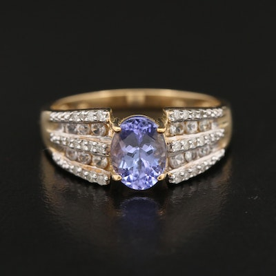 10K Gold Tanzanite, Diamond and White Topaz Ring