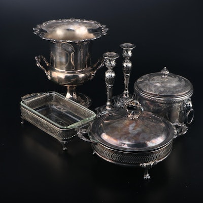 """Towle """"Old Master"""" Silver Plate Champagne Bucket and Other Serveware"""