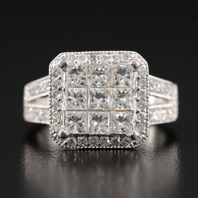 14K 1.53 CTW Illusion Set Diamond Ring