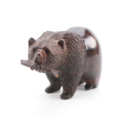 Carved Walnut Grissly Bear with Fish Sculpture