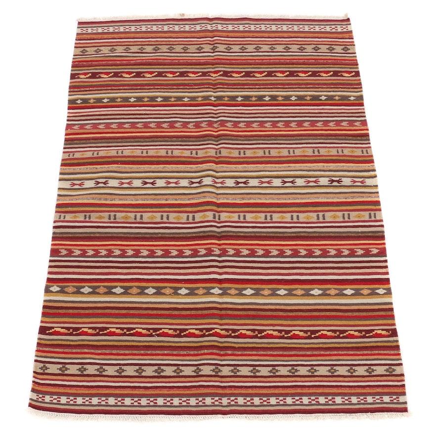 4'5 x 6'9 Handwoven Turkish Kilim Rug