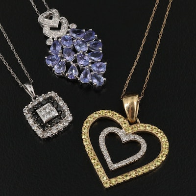 10K Pendant Necklaces Featuring Tanzanite, Diamonds and Yellow Sapphires