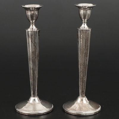 Pair of M. Fred Hirsch Weighted Sterling Silver Candlesticks