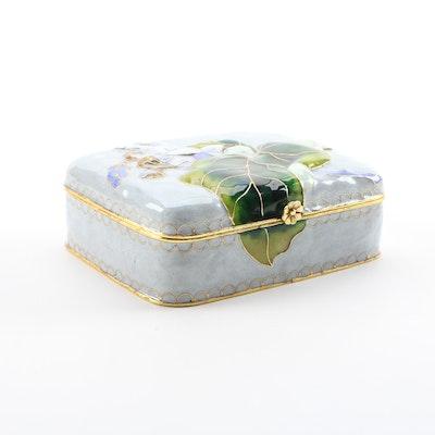 Chinese Floral Repoussé Relief Cloisonné Trinket Box
