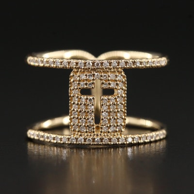 14K Pavé Set Diamond Cross Ring